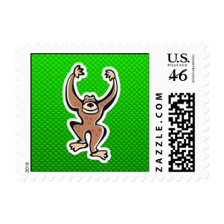 Cute Monkey; Green Postage Stamps
