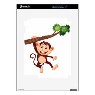 Cute monkey hanging on the branch decal for iPad 2