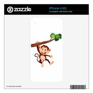 Cute monkey hanging on the branch decal for the iPhone 4
