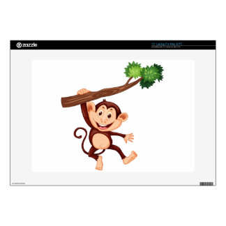 Cute monkey hanging on the branch decals for laptops