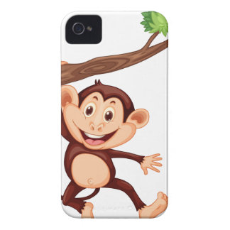 Cute monkey hanging on the branch iPhone 4 cases