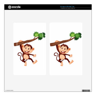 Cute monkey hanging on the branch kindle fire skin