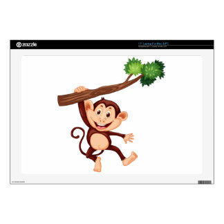 Cute monkey hanging on the branch laptop skin