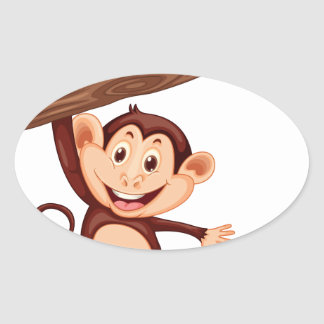 Cute monkey hanging on the branch oval sticker