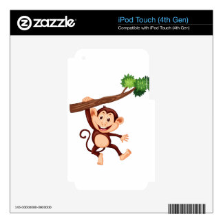 Cute monkey hanging on the branch skins for iPod touch 4G