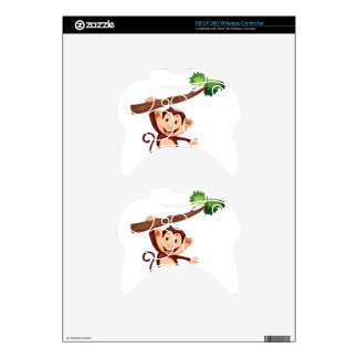 Cute monkey hanging on the branch xbox 360 controller skins