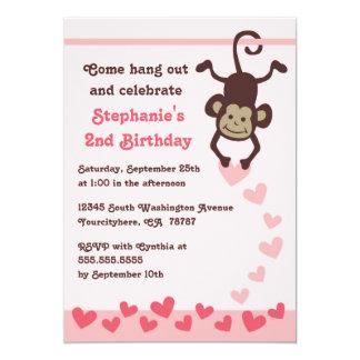 Cute monkey hearts girls birthday party invitation