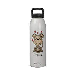 Cute Monkey Hearts Personalized Girls Water Bottles
