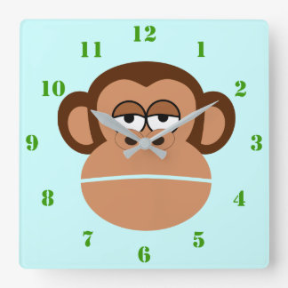 CUTE MONKEY ILLUSTRATION WITH GREEN NUMERALS SQUARE WALL CLOCK