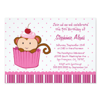 Cute monkey in a cupcake birthday party invitation