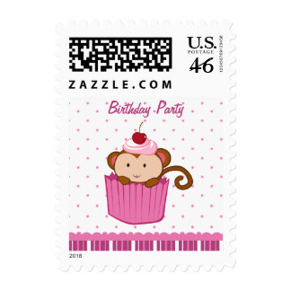 Cute monkey in a cupcake birthday party stamps