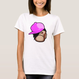 Cute monkey in pink apple Emo style T-Shirt