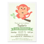 Cute Monkey, Jungle Animal Kid's Birthday Party 5x7 Paper Invitation Card