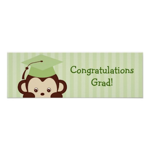 Cute Monkey Kids Graduation Banner Sign Poster