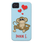 Cute Monkey Love Personalized iPhone 4/4S Case
