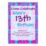 "Cute Monkey Magenta Teal Animal Pattern Kids Gifts 5"" X 7"" Invitation Card"