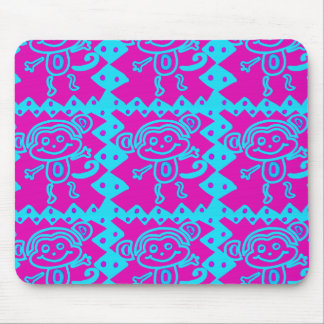 Cute Monkey Magenta Teal Animal Pattern Kids Gifts Mouse Pad