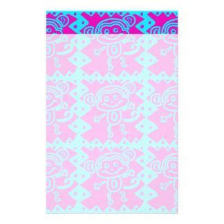 Cute Monkey Magenta Teal Animal Pattern Kids Gifts Stationery Paper