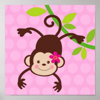 Cute Monkey Nursery Kids Wall Art Prints Girls