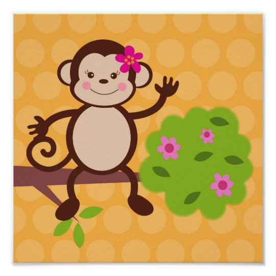 Cute Monkey Nursery Kids Wall Art Prints Girls