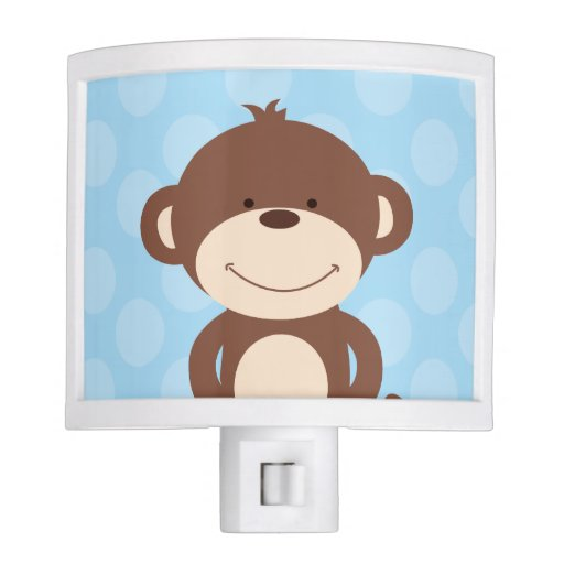 Cute Monkey Nursery Night Light (Blue)
