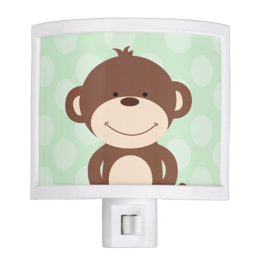 Cute Monkey Nursery Night Light (Green)