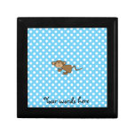 Cute monkey on blue polka dots gift boxes