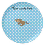 Cute monkey on blue polka dots party plates