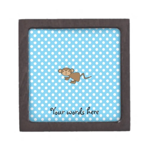 Cute monkey on blue polka dots premium gift boxes