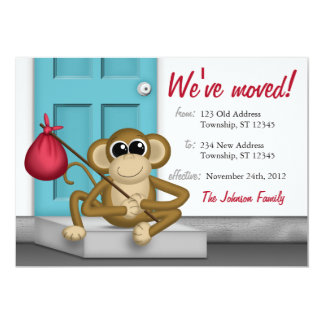 Cute Monkey on Doorstep - Moving Announcements