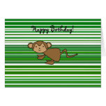 Cute monkey on green and white stripes greeting card