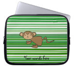 Cute monkey on green and white stripes laptop computer sleeve