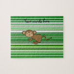 Cute monkey on green and white stripes puzzles