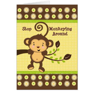 Cute Monkey on Tree Branch Birthday Card