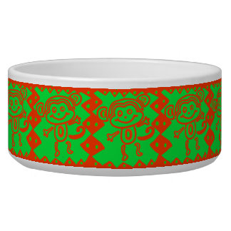 Cute Monkey Orange Green Animal Pattern Pet Food Bowl