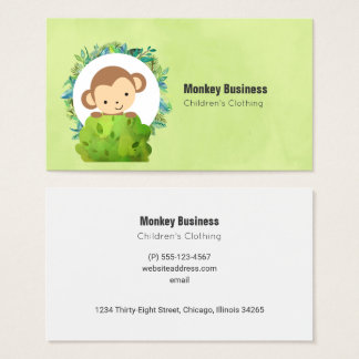 Cute Monkey Peeking Out from Behind a Bush Business Card