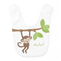 Cute Monkey Personalized Baby Bib