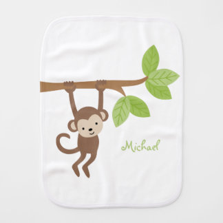 Cute Monkey Personalized Baby Burp Cloth