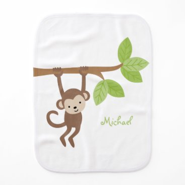 heartlocked Cute Monkey Personalized Baby Burp Cloth