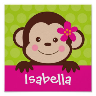 Cute  Monkey Personalized Name Art Print girl Kids