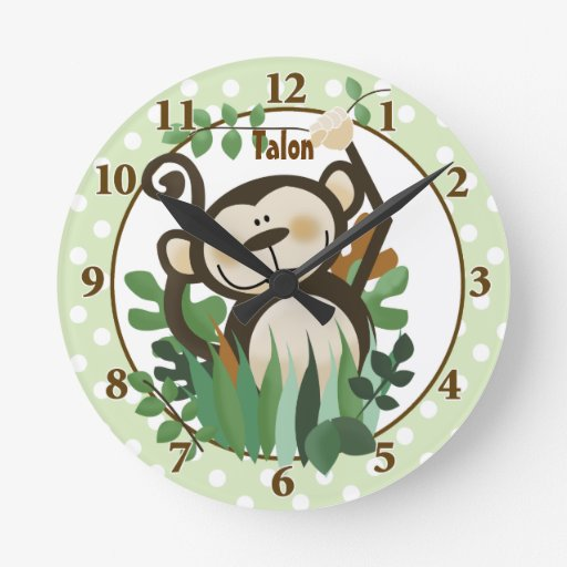 Cute Monkey Personalized Wall Clock