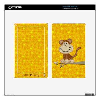 Cute Monkey Personalized Yellow Stars Kindle Skin