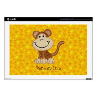 Cute Monkey Personalized Yellow Stars Laptop Skin