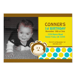 Cute Monkey Photo Invitation or Thank You Card