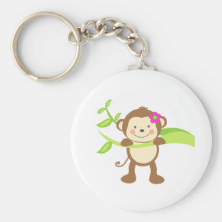 Cute Monkey.png Basic Round Button Keychain