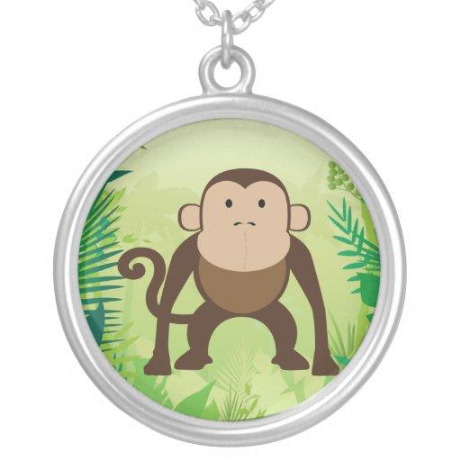 Cute Monkey Round Pendant Necklace