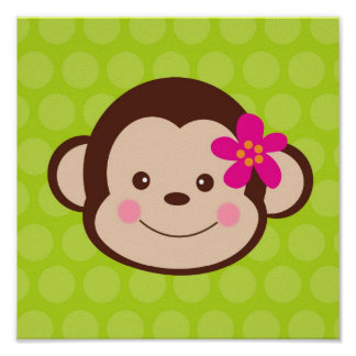 Cute Monkey Safari Nursery Kids wall art prints Print