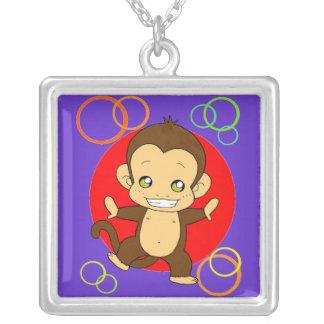 Cute monkey square pendant necklace