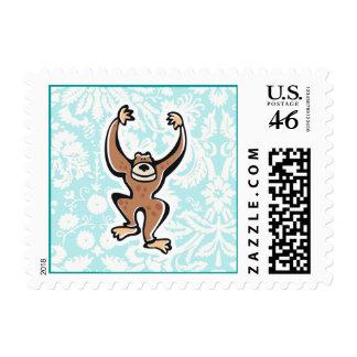 Cute Monkey; teal Postage