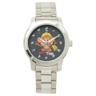 Cute Monkey Time w/Chinese Numerals (blue font) Wrist Watch